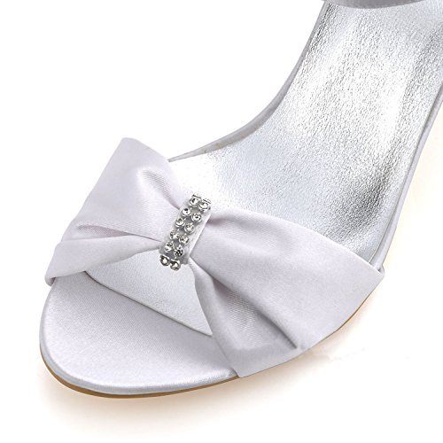 Bowknot High Toe Slingback Heel Shoes Bridal Wedding Satin Minitoo white Open 9cm GYMZ653 Womens Heel wAaWcqZT