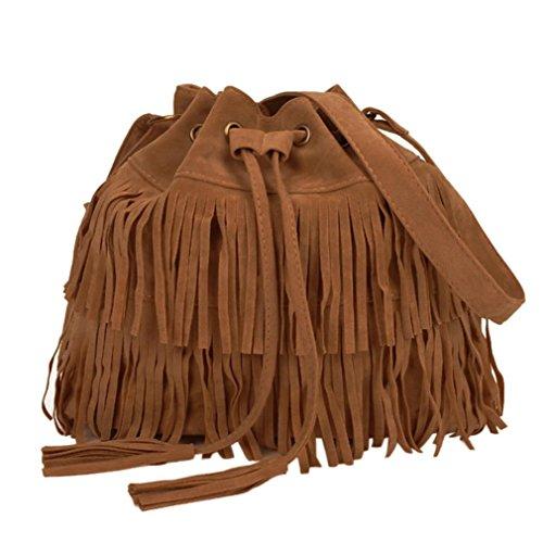 Fulltime (TM) mujeres moda casual Messenger borla sólido bolsas cordón bolsas de hombro, Infantil mujer, negro marrón
