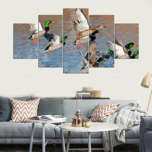 PEACOCK JEWELS [LARGE] Premium Quality Canvas Printed Wall Art Poster 5 Pieces / 5 Pannel Wall Decor Duck Hunting Painting, Home Decor Pictures - Stretched