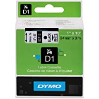 Genuine DYMO 1 (24mm) Black on White D1 Label Tape for Electronic Dymo LabelWriter DUO Label Maker