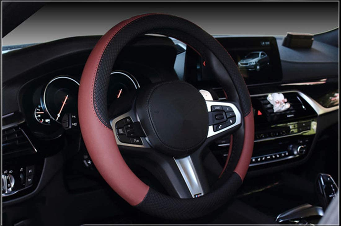 Warm in Winter and Cool in Summer black Universal 15 Inches Breathable Anti-Slip Odorless Steering Wheel Cover Microfiber Leather and Viscose