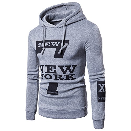 Fxbar,Men's Long Sleeve Sport Outwear Fashion Lettered Men's Sweatshirts Hoodies (Gray,L)