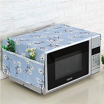 MicrowaveOvenDustproofcover,MicrowaveProtectiveCover,BettopAnti-DustLinen Fabric MicrowaveDustproofClothCoverwithStoragePockets (Blue Flower)