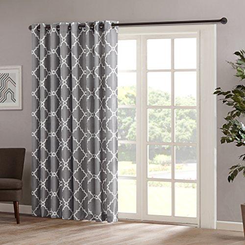 Madison Park Saratoga Fretwork Print Patio Window Curtain, 100×84″, Grey
