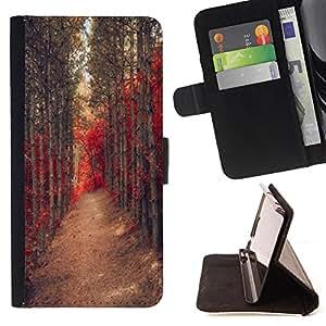 - Road Wood Trees/ Personalizada del estilo del dise???¡Ào de la PU Caso de encargo del cuero del tir????n del soporte d - Cao - For Samsung Galaxy S6 EDGE