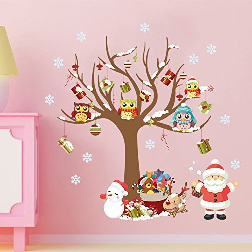 Santa Wall Claus (Peicees Merry Christmas Wall Stickers Santa Claus Owls Christmas Tree Gifts Wall Decals, Kid's Living Room Bedroom Shop Window Removable Wall Stickers Murals Removable DIY Home Decorations Art Decor)