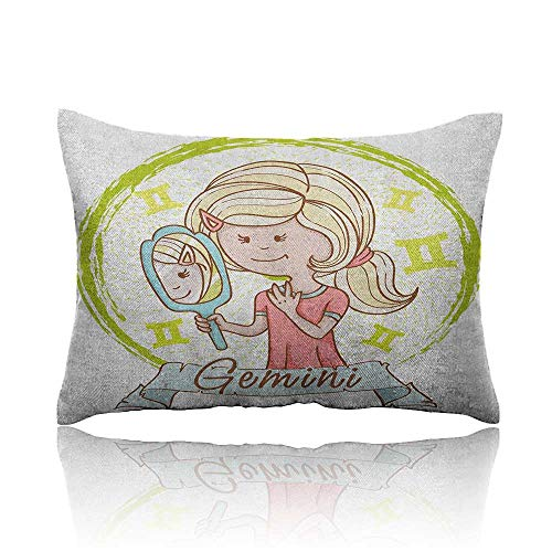 Anyangeight Zodiac Gemini Mini Pillowcase Cartoon Style Little Girl with a Mirror and Reflection Twins Concept for Kids Fun Pillowcase 20