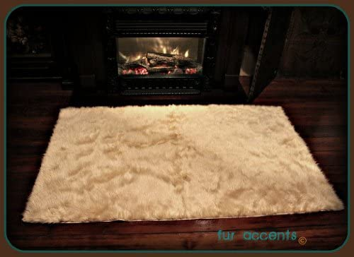 Fur Accents Faux Fur Area Rug Tan Camel Shag Sheepskin Rectangle 5 x7