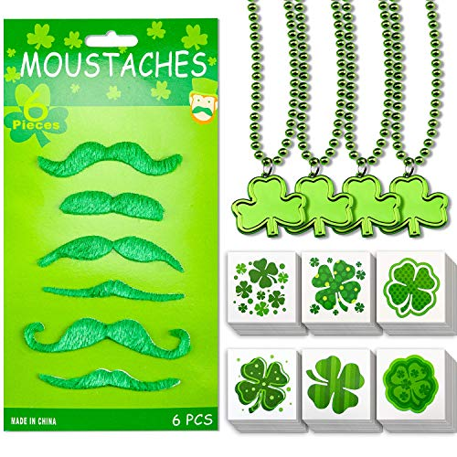 HENMI 6 PCS Self Adhesive Green Fake Mustache,144 PCS Shamrock Tattoos Stickers with 6 Styles, 4 PCS Shamrock Clover Green Bead Necklace for St Patrick's Day Party Supplies St. Patrick's Day Decorations ()