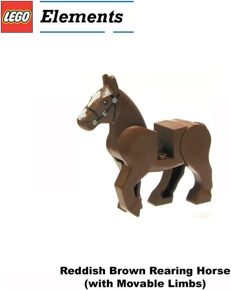 Lego Animal Minifigure: Reddish Brown Rearing Horse (with Movable Limbs)