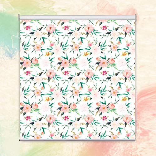 """PASSENGER PIGEON Blackout Window Shades, Country Garden Patterned Premium Thermal Insulated UV Protection Custom Roller Blinds, 53"""" W x 36"""" L from PASSENGER PIGEON"""