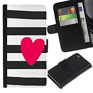 For Apple iPhone 4 / iPhone 4S,S-type® Heart Love Pink White Black - Dibujo PU billetera de cuero Funda Case Caso de la piel de la bolsa protectora