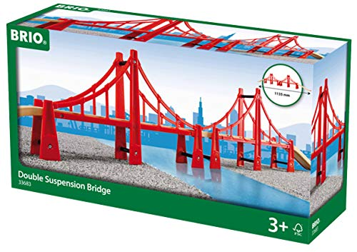 BRIO World - 33683 Double Suspension Bridge | 5 Piece Toy Train Accessory for Kids Age 3 and Up ()