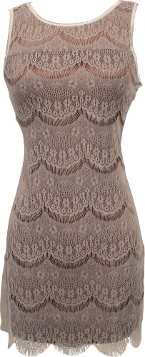Scalloped Lace Overlay Mini Flapper Dress Junior & Junior Plus Size, 2X, Ivory