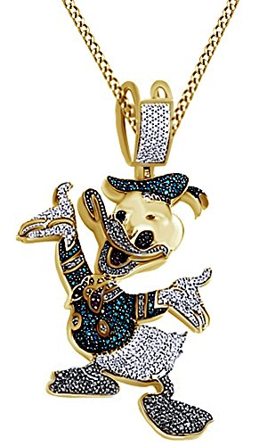Round Cut Cubic Zirconia Donald Duck Hip Hop Pendant in 14k Yellow Gold Over Sterling Silver (4.08 Cttw) by AFFY