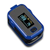 AMEMO Fingertip Pulse Oximeter - FDA Approved Blood Oxygen and Heart Rate Monitor, with Alarm and Beep, with Batteries, Lanyard, Silicone Cover and Carrying Case (Blue)