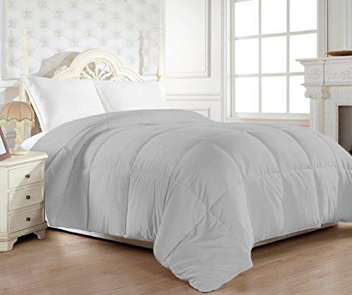 Elegant Comfort® 1200 Thread Count 100-Percent Egyptian Cotton Goose Down Alternative Comforter - 750Fill Power- HypoAllergenic - Solid Gray Full/Queen - Egyptian Cotton Comforter