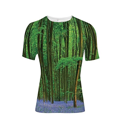 Devil Rays Wood - T-Shirt for Men,in a Bluebell Wood Summer Dream Holiday Getaway,3D Print