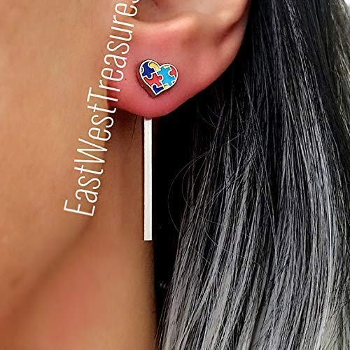 Autism awareness Gift for women her Autism Puzzle pieces stud earrings-Dangle drop studs