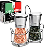 Salt & Pepper Grinder 150ml Set of 2-5 Oz Glass Sea Salt and Spice Shakers with BONUS Stand - Adjustable Coarseness Mills – Easy To Clean - Stainless Steel & Ceramic Rotor - BPA Free