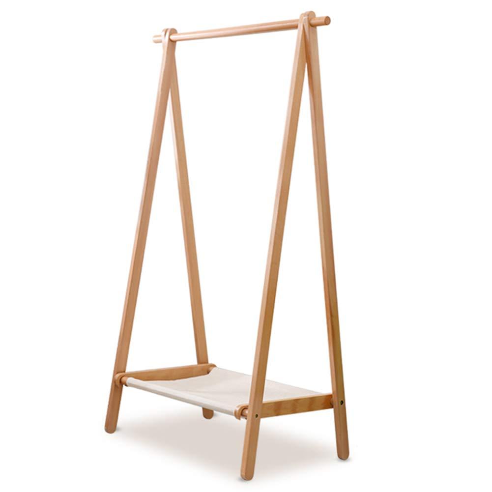 Wood color 75CM Clothes Hat Tree Floor Racks Solid Wood Simple Modern Living Room Bedroom Simple Multifunctional Folding Wood color,Walnut color\75cm,95cm,120cm CONGMING (color   Walnut color, Size   75CM)