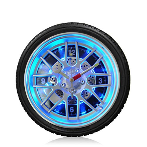 (Retro Tire Wall Clock, Silent Non-Ticking Quality Quartz Battery Operated Easy to Read Home/Office/School Clock (Color : Black, Size : 14in/35.5cm))
