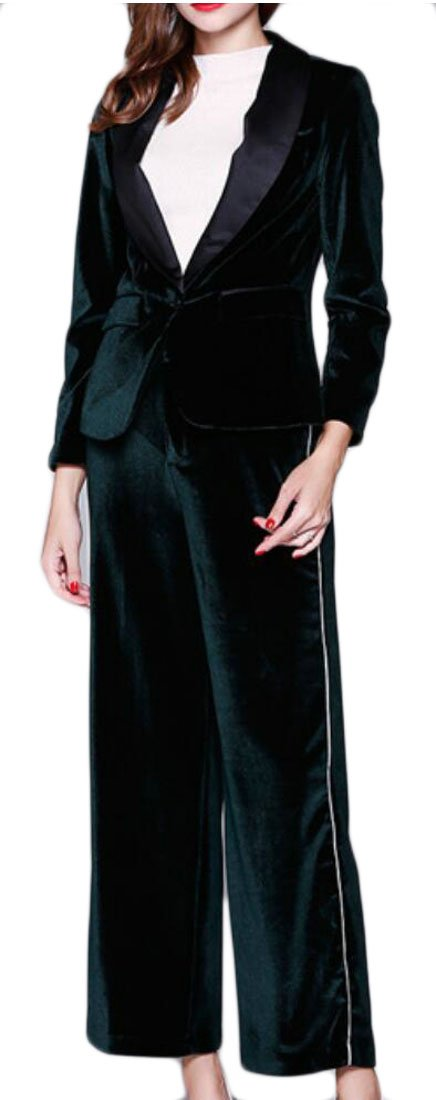 GAGA Women's Winter Sexy Long Sleeve Velvet Suit 2 Pieces Outfits Dark Green XS