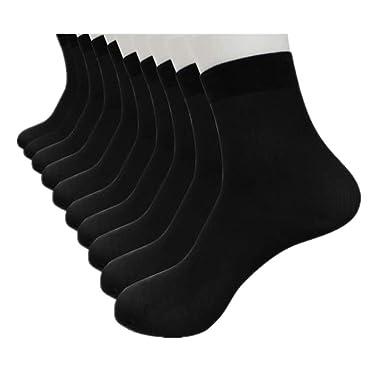 DOGZI Calcetines cortos, 10 pares Fibra de bambu Ultra delgado Elástico Sedoso Corto Medias de seda Calcetines de hombre: Amazon.es: Ropa y accesorios