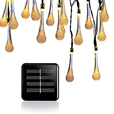 Solar Outdoor String Lights, DBF 21ft 30 LED Water Drop String Fairy Solar Powered Lighting Lamp, 2 Mode (Steady, Flash), Waterproof, Decoration for Garden, Christmas Tree, Party (Warm White)