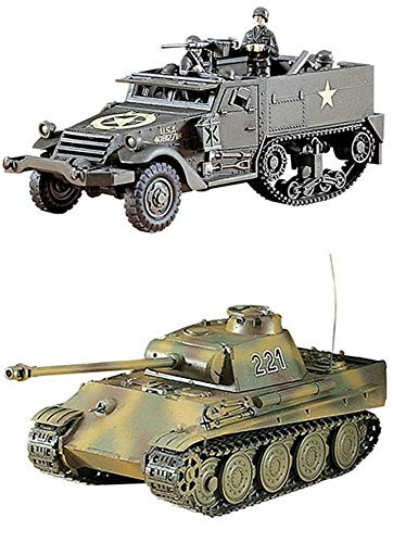 2 Hasegawa WW2 Vehicle Models - Pz.Kpfw V Panther Tank and M4A1 Half Track (Japan Import)