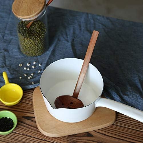 Noblik 1,3 L Style Japonais C/éRamique Blanche Casserole Une Lait Cuisine Cuisson Pan Pot Une Casserole Aliments pour B/éB/éS Casserole avec Longue Poign/éE pour Un Peuple
