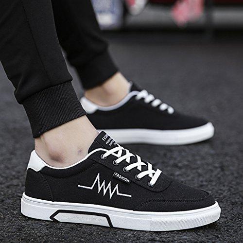 scarpe tela stile coreana Color piatte Scarpe Black basse da casual casual in Scarpe YaNanHome estive Size uomo Black 44 Espadrillas tendenza Scarpe traspiranti qzZP6Z