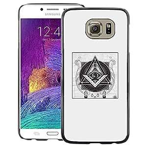 A-type Arte & diseño plástico duro Fundas Cover Cubre Hard Case Cover para Samsung Galaxy S6 (Free Mason Pyramid Symbolism Black)