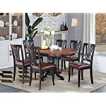 EAST WEST FURNITURE dinette table set- 6 Great wooden dining chairs - A Beautiful round dining table- Faux Leather seat…