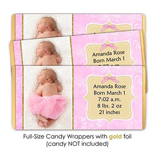 Pink and Gold New Baby Candy Wrappers, Birth Announcement candy wrappers (25 (Announcement Candy Wrappers)