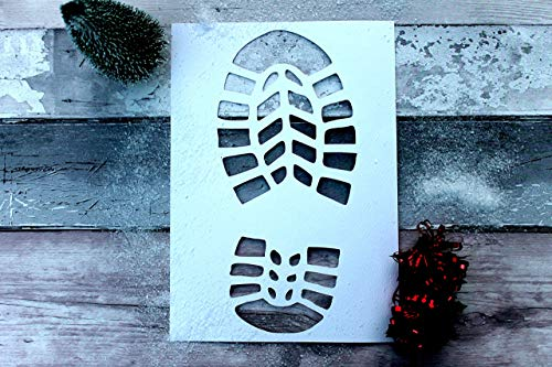 Santa Footprint Stencil Boot Print Christmas Decoration]()