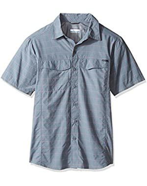 Men's Silver Ridge Multi Plaid Short Sleeve Shirt, Grey Ash Dobby Plaid, Small