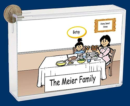 Personalized NTT Cartoon Side Slide Frame Gift: Family Dinner Single Mom 1 Girl Gift, Family Gift, Single mom