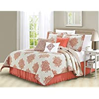 6 Piece Coral Pink Medallion Coverlet Set King Size, Geometric Floral Flower Damask Motif Pattern Flowers Circle Bedding Contemporary Printed Bedroom Bedspread Reversible, Microfiber