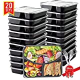 BASA Meal Prep Containers 20 Pack 3 Compartment with Lids and 20 Free Forks BPA Free Portion Control Bento Box Food Prep Containers Stackable Microwave  Dishwasher  Freezer Safe 28oz Black