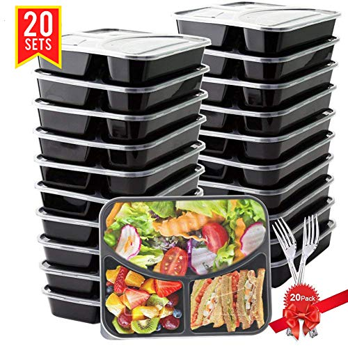 BASA Meal Prep Containers[20 Pack] 3 Compartment with Lids and 20 Free Forks - BPA Free Portion Control Bento Box - Food Prep Containers Stackable - Microwave / Dishwasher / Freezer Safe (28oz), Black