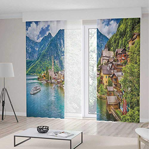 (iPrint Wanderlust Decor Room Decor Curtains,Famous Hallstatt Mountain Village Lake Hallstatt in the Austrian Alps Print,Living Room Bedroom Window Drapes 2 Panel Set,142 W 95 L,)