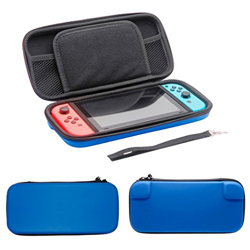 Price comparison product image Plain Black EVA Tough Case Pouch Travel Carry Case Bag For Nintendo Switch Console Aobiny Bag (Blue)
