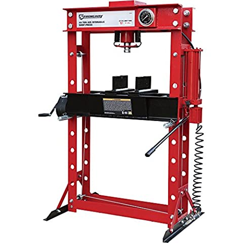 Strongway Air/Hydraulic Shop Press with Gauge and Winch - 45-Ton Capacity (Band Saw Hydraulic Cylinder)