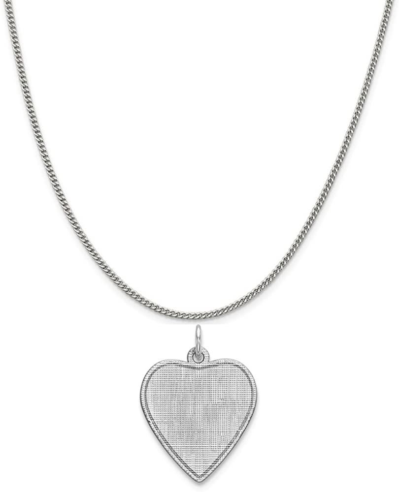 Mireval Sterling Silver Engravable Heart Patterned Disc Charm on a Sterling Silver Chain Necklace 16-20