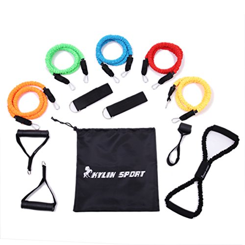 KYLIN SPORT Latex Fabric Covered Resistance Bands Fitness Exercise Workout Tubes for Yoga Pilates Crossfit Gym (12 pcs set)