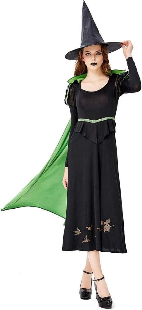 CAGYMJ Dress Party Mujer Vestido,Cosplay Verde Capa Bruja Vampiro ...