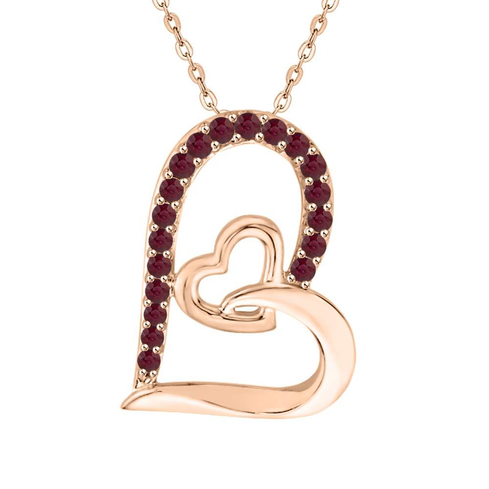 KATARINA Gemstone Double Interlinked Heart Pendant Necklace in 10K Gold 3//8 cttw