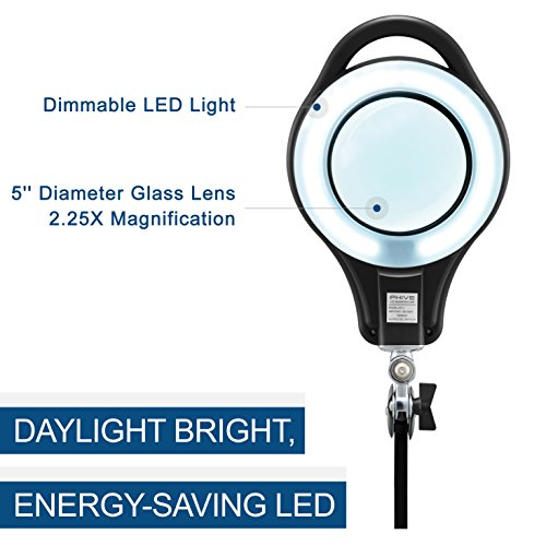 LED Magnifier Lamp, PHIVE Dimmable Magnifying Desk Lamp/Task Light with Clamp (3 Lighting Modes, 5 Diopter, 5'' Diameter Glass Lens, Dust Cover) Swing Arm Workbench, Drafting, Work Light by PHIVE (Image #6)