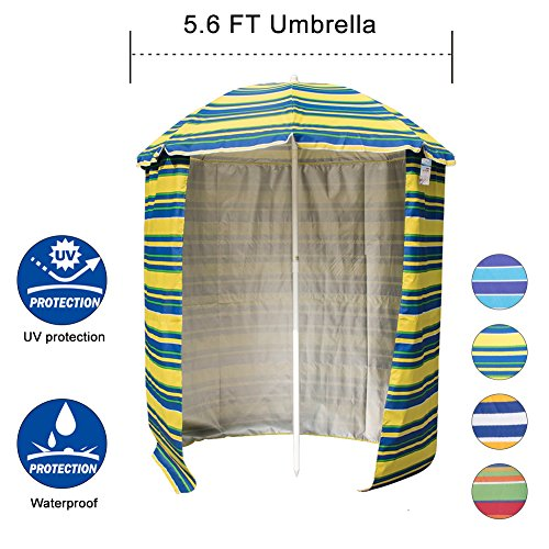 Sundale Outdoor 5.6 Feet Sand Anchor Beach Umbrella Market with Drape, Side Panel and Push Button Tilt, 8 Steel Ribs, Heavy Duty Canopy Waterproof, UV Resistance, Heat Insulating (Banana - Drape Rib